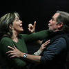 """MIKE SPRINGER/Staff photo<br /> Veteran Broadway actors Wendy Waring and her husband John Hillner rehearse a scene Tuesday in the Gloucester Stage Company's upcoming world premiere of """"Madame Defarge."""" A New York resident, Waring spent summers growing up on Cape Ann and is the daughter of longtime Rockport residents Bayard and Bea Waring. """"Madam Defarge,"""" written by Wendy Kesselman, is a musical re-imagining of the life of a notorious character from Charles Dickens' """"A Tale of Two Cities."""" Tickets are on sale now for the play, which opens May 11.<br /> 5/1/2018"""