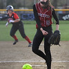 MIKE SPRINGER/Staff photo<br /> Gloucester's Sydney McKay pitches during varsity softball play Friday against Marblehead in Gloucester.<br /> 5/11/2018