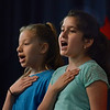 "MIKE SPRINGER/Staff photo<br /> Fourth-graders Sofia Crivello, right, and Briancy Garcia perform a scene in ""School House Rock Jr."" on Friday at Veterans Memorial Elementary School.<br /> 5/25/2018"