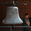 MIKE SPRINGER/Staff photo<br /> The historic 1839 bell in its new place near the front door of Rockport High School.<br /> 5/23/2018