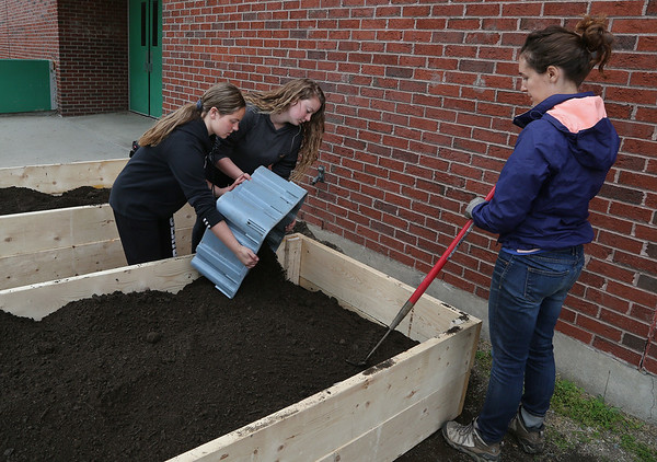 MIKE SPRINGER/Staff photo<br /> Seventh-graders Daunika Billante, left, and Hailey Merritt pour soil into a new planter under the supervision of Samantha Drown, right, a FoodCorps service member with Backyard Growers, during a wheat-planting project Tuesday at O'Maley Innovation Middle School in Gloucester. When the students harvest the wheat next fall, they will thresh, winnow, mill and bake it into bread.<br /> 5/22/2018