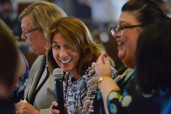 MIKE SPRINGER/Staff photo<br /> Massachusetts Lt. Gov. Karyn Polito chairs a meeting of the Seaport Economic Council on Wednesday at Gloucester City Hall. At left is state Housing and Economic Development Deputy Secretary and former Gloucester Mayor Carolyn Kirk. At right is Gloucester Mayor Sefatia Romeo Theken.<br /> 5/24/2018