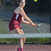 MIKE SPRINGER/Staff photo<br /> Tori Carine, Gloucester's number three singles player, prepares to hit a backhand during varsity tennis play Tuesday against Beverly in Gloucester.<br /> 5/29/2018