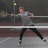 MIKE SPRINGER/Staff photo<br /> Rockport's Ivo Allen competes Wednesday in a doubles match during varsity boys tennis play against North Reading at Rockport.<br /> 5/9/2018