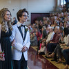 Desi Smith Photo.   Alyssa Lemonde and her date Colby Tarbox make their way around the high school gym and pose for a photo during the pre-prom promendade at Rockport' High School Friday night.   May 18,2018