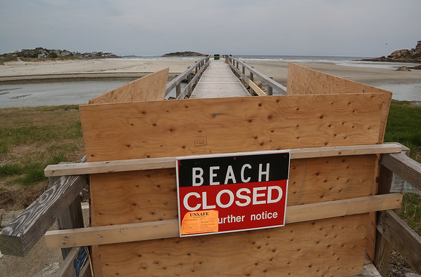 MIKE SPRINGER/Staff photo<br /> The storm-damaged footbridge at Good Harbor Beach remains closed.<br /> 5/16/2018