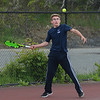 MIKE SPRINGER/Staff photo<br /> Alex Nadeau, Peabody's number two-ranked singles player, competes Wednesday during varsity tennis play at Gloucester.<br /> 5/16/2018