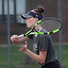 MIKE SPRINGER/Staff photo<br /> Rockport's Molly Twombly competes against a Lynnfield player during varsity tennis Thursday in Rockport.<br /> 5/3/2018