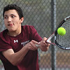 MIKE SPRINGER/Staff photo<br /> Rockport's Jaden Kamm competes against a North Reading player during varsity boys tennis Wednesday in Rockport.<br /> 5/9/2018