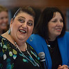 MIKE SPRINGER/Staff photo<br /> Gloucester Mayor Sefatia Romeo Theken speaks Wednesday during a meeting of the state Seaport Economic Council at Gloucester City Hall. At right is Salem Mayor Kim Driscoll.<br /> 5/28/2018
