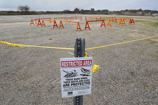 MIKE SPRINGER/Staff photo<br /> A restricted area around a piping plover nest site as it appeared Thursday in the parking lot of Good Harbor Beach in Gloucester. Conservation authorities built the enclosure after eggs from the threatened species were found at the site.<br /> 5/10/2018