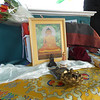 SEAN HORGAN/Staff photo/A Buddhist shrine set up aboard the xxx .