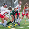 AMANDA SABGA/Staff photo <br /> <br /> Manchester Essex's Christina Bullock tries to keep the ball as she is swarmed by Watertown defenders during the division two north field hockey championship game against Watertown at North Andover High School. Manchester Essex was defeated by Watertown 1-0.<br /> <br /> 11/10/18