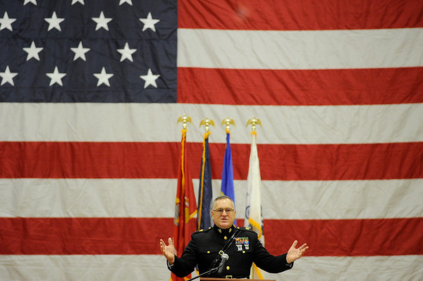Keynote speaker CWO3 Richard Muth Jr. of the U.S Marine Corps speaks about Gloucester Residents who have vote in all the wars since the revolution during the Gloucester Veterens Day Ceremony and Parade on Sunday November 11, 2018.  Photo by Joseph PREZIOSO