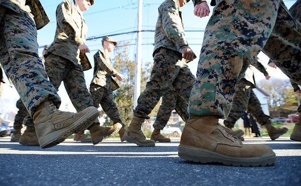 JROTC members march during the Gloucester Veterens Day Ceremony and Parade on Sunday November 11, 2018.  Photo by Joseph PREZIOSO