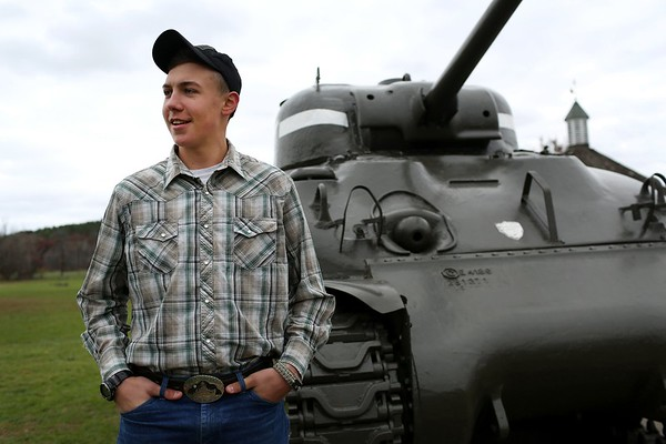 HADLEY GREEN/ Staff photo<br /> For his Eagle Scout project, Hugh Gist of Essex restored and painted General Patton's tank at Patton Park in Hamilton. <br /> <br /> 11/09/2018 [[MER1811091351454719]]