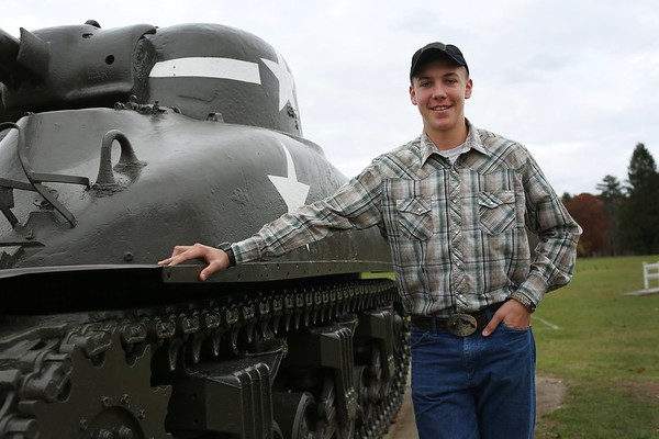 HADLEY GREEN/ Staff photo<br /> For his Eagle Scout project, Hugh Gist of Essex restored and painted General Patton's tank at Patton Park in Hamilton. <br /> <br /> 11/09/2018 [[MER1811091351534720]]