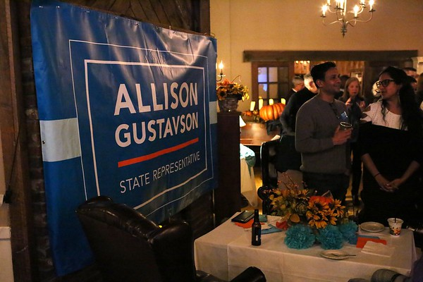 HADLEY GREEN/ Staff photo<br /> Supporters for Allison Gustavson, the Democrat challenging state Rep. Brad Hill, gather at 1640 Hart House in Ipswich on election night as the results come in.<br /> <br /> 11/06/2018 [[MER1811062131074341]]