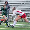 AMANDA SABGA/Staff photo <br /> <br /> Manchester Essex's Christina Bullock( 12) blocks a pass from Watertown's Shannon Hughes (6) during the division two north field hockey championship game against Watertown at North Andover High School. Manchester Essex was defeated by Watertown 1-0.<br /> <br /> 11/10/18