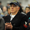 John Wheeler wears his old navy jacket while applauding a speaker during the Gloucester Veterens Day Ceremony and Parade on Sunday November 11, 2018.  Photo by Joseph PREZIOSO