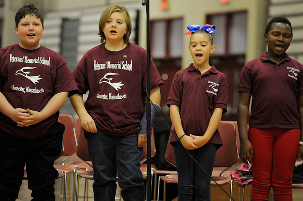 """Children from Gleeful Eagles performed """"What a wonderful world"""" during the Gloucester Veterens Day Ceremony and Parade on Sunday November 11, 2018.  Photo by Joseph PREZIOSO"""