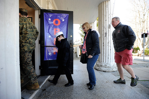 "Community members enter the American Legion building for lunch at the conclusion of the Gloucester Veterens Day WWI Ceremony to honor the Gloucester soldiers who died during the ""Great War"" and remember the Armistice that was signed by the Allies and Germany 100 years ago to end the war on Sunday November 11, 2018.  Photo by Joseph PREZIOSO"