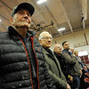 Korea Veteran Austin Borr stands with WWII vets Mike Linquata and John Mondello as the National Anthem is played during the Gloucester Veterens Day Ceremony and Parade on Sunday November 11, 2018.  Photo by Joseph PREZIOSO