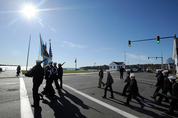 The Sea Cadets turn onto Western Ave. during the Gloucester Veterens Day Ceremony and Parade on Sunday November 11, 2018.  Photo by Joseph PREZIOSO