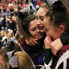 HADLEY GREEN/Staff photo<br /> Gloucester cheerleaders celebrate after coming in first in the small school co-ed division at the Massachusetts State Cheerleading Tournament at Worcester State University.<br /> <br /> 11/19/17 [[MER1711191857101434]]
