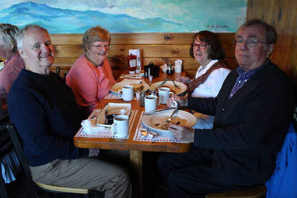 HADLEY GREEN/ Staff photo<br /> From left, Earl and Andrew Morgen of Manchester and Emily and Kevin O'Malley of Gloucester attend SeniorCare's annual autumn fundraising breakfast at Lobsta Land Restaurant in Gloucester. <br /> <br /> 10/16/2018