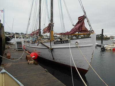 SEAN HORGAN/Staff photo/The Silvina W. Beal knockabout schooner, tied up at Maritime Gloucester on Monday, will be renovated by Essex shipwright Harold Burnham.