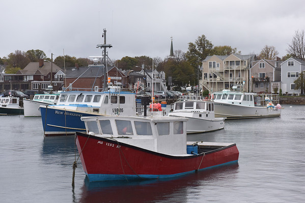 TIM JEAN/Staff photo<br /> <br /> Lobster boats line the harbor as they wait out the storm that passed early Wednesday morning.  10/24/18