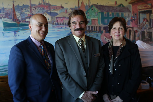 HADLEY GREEN/ Staff photo From left, Michael Givens of Ipswich, Scott Trenti, chief executive officer of SeniorCare, and Maryanne Bland of Rockport attend SeniorCare's annual autumn fundraising breakfast at Lobsta Land Restaurant in Gloucester.   10/16/2018
