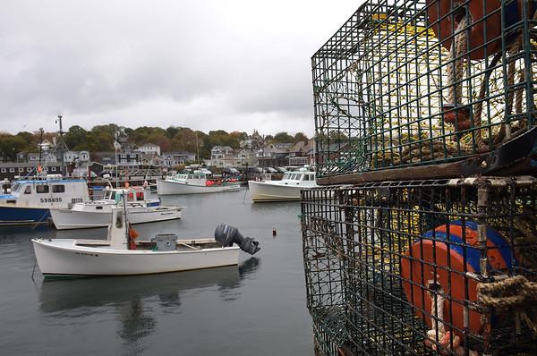 TIM JEAN/Staff photo<br /> <br /> Lobster traps line the docks of Rockport Harbor.  10/24/18