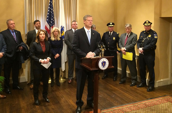 CHRISTIAN M. WADE/CNHI photo/Gov. Charlie Baker speaks about a his proposal aimed at improving cooperation between municipal law enforcement as they target fentanyl dealers. He's asking lawmakers to approve $5 million for the program.