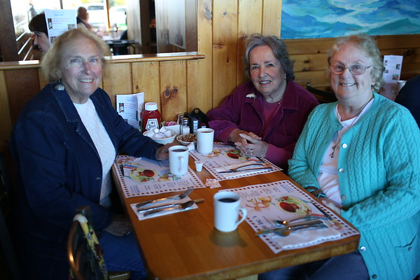 HADLEY GREEN/ Staff photo<br /> From left, Marilyn Beard of Gloucester, Faye Brophy of Essex and Judy Porter of Beverly attend SeniorCare's annual autumn fundraising breakfast at Lobsta Land Restaurant in Gloucester. <br /> <br /> 10/16/2018