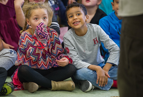 AMANDA SABGA/Staff photo <br /> <br /> Avivana Hereida and Rhonaldo Alves react to seeing a chinchilla during a visit from Curious Creatures at the Veterans' Memorial School in Gloucester. <br /> <br /> 10/23/18