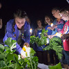 Desi Smith Photo.   Faith Brown 12,of Gloucester, looks to harvest some turnip along with others,from the garden at the Open Door Pantry on Emerson Ave, usings hand held lights Tuesday night, were a group of people learn to cook using local harvest.   October 18,2016
