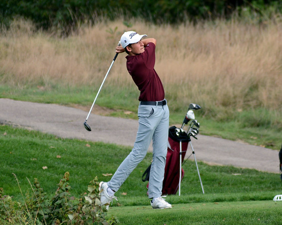 RYAN HUTTON/ Staff photo<br /> Rockport's Bowen Slingluff, 13, tees off at the fourth hole of the Essex Country Club during the Old Cape Ann Classic on Thursday.