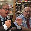 RAY LAMONT/Staff photo/Kenneth Hecht,l eft, and Joseph Giacalone, candidates for Ward 2's City Council seat, debate Wednesday at Sawyer Free Library.