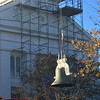 ABIGAIL BLISS/Staff photoWorkers with Salem-based American Steeple and Tower Company use a crane to lift First Congregational Church of Rockport's new bell from the lawn before lower it onto the steeple's frame supports.