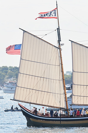 The Fame in the parade of Schooner ships in Gloucester, Sunday, September 2, 2018. Jared Charney / Photo