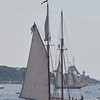 The Columbia in the parade of Schooner ships in Gloucester, Sunday, September 2, 2018. Jared Charney / Photo