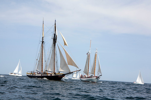 AMY SWEENEY/Staff photo.<br /> The Lynx and the Ardelle are head to head at about the 2 mile mark in the 33rd annual Schooner Festival.<br /> Sept. 4, 2017
