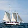 AMY SWEENEY/Staff photo.<br /> The Ardelle, a pinky schooner built by Essex shipbuilder Harold Burnham, races in the 33rd Gloucester Schooner Festival. Sept. 4, 2017