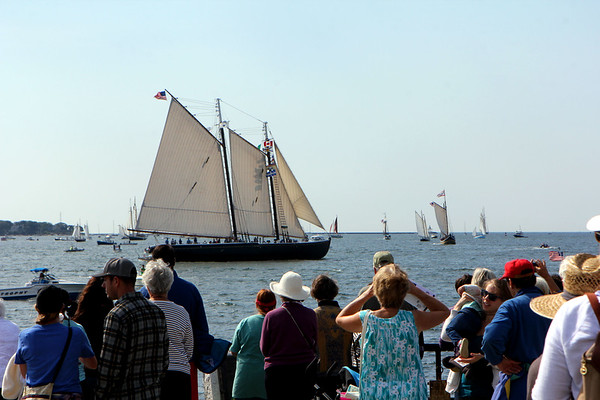 "AMY SWEENEY/Staff photo<br /> The Adventure, one of the last of the Gloucester fishing schooners, known as ""Gloucestermen""  starts the parade of sail during the 33rd annual Gloucester Schooner Festival.<br /> Sept. 4, 2017"