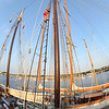 Desi Smith/Gloucester Daily Times The Spirit of Massachusetts is docked at Maritime Gloucester in Harbor Loop for the Schooner Festival. Elizabeth Sherfey of Camden, Maine, is up on the rigging on Friday evening at sunset.