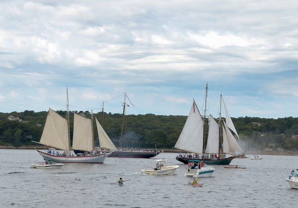 Gloucester:   The Schooner Ardelle left, Schooner Adventure and the Thomas Lannon gather in Gloucester Harbor for the Parade of Sails Sunday morning. Desi Smith/Gloucester Daily Times. September 2, 2012