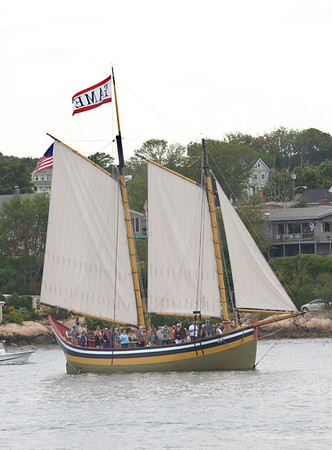 Gloucester:  The Schooner Fame heads out for the Parade of Sails in Gloucester Harbor Sunday morning.  Desi Smith/Gloucester Daily Times. September 2, 2012