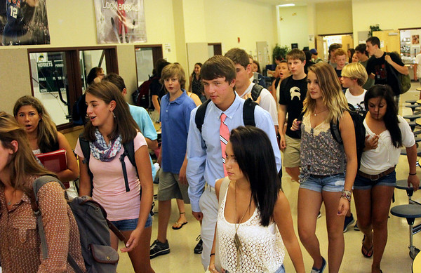 Allegra Boverman/Gloucester Daily Times Manchester-Essex Regional High School students move on to their afternoon classes after lunch on the first day of school on Thursday.